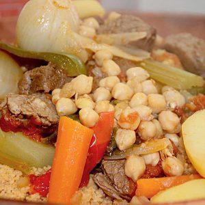 Démonstration avec dégustation culinaire Couscous Royal avec merguez/poulet/agneau/brochette 20€ pp avec Cava offert